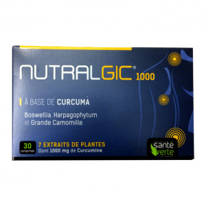 Santé Verte Nutralgic - 30 Comprimés A base de curcuma 7 extraits de plantes dont 1000 mg de curcumine