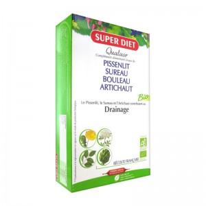Super Diet Quatuor Bio Drainage - 20 Ampoules Pissenlit Sureau Bouleau Artichaut BIO