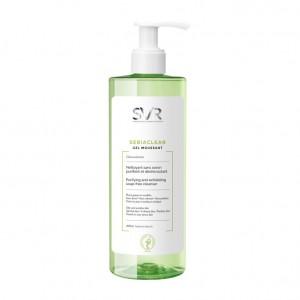 SVR Sebiaclear - Gel Moussant 400 ml Nettoyant sans savon purifiante et désincrustant Peaux grasses et sensibles Visage et corps Sans paraben