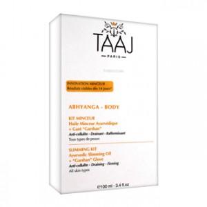 Taaj Abhyanga - Body - Kit Minceur Huile Minceur Ayurvédique 100 ml + Gant Garshan Kit anti-cellulite, drainant et raffermissant Pour tous types de peaux