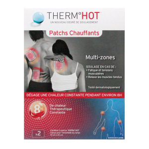 Bausch + Lomb Therm Hot - Patchs Chauffants X2 Multi-zones Soulage : Fatigues et tensions musculaires, relaxe les muscles tendus
