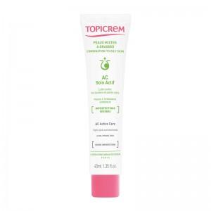 Topicrem AC - Soin Actif - 40 ml Lutte contre les boutons et points noirs Peaux à tendance acnéique Imperfections sévères