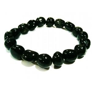 Bracelet Tourmaline Noir Perles Rondes
