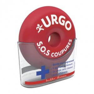 Urgo SOS Coupure - Bande Stop Saignement 25 Utilisations S'applique facilement Se coupe sans ciseaux Auto-adéhrante 3m x 2.5cm 25 utilisations Idéal pour les cuisiniers !