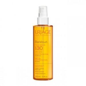 uriage bariésun huile seche spf 30 haute-protection peaux sensibles toucher sec corps cheveux water resistant