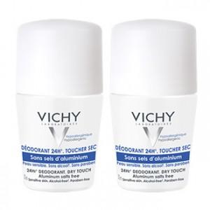 Vichy Déodorant 24H Toucher Sec Roll-on DUO 2x50 ml Sans sels d'aluminium Pour peau sensible Sans alcool et sans paraben