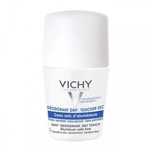 Vichy Déodorant 24H Toucher Sec Roll-on 50 ml Sans sels d'aluminium Pour peau sensible Sans alcool et sans paraben