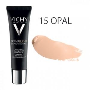 Vichy Dermablend [3D CORRECTION] Fond de Teint SPF25 - 15 Opal - 30 ml Fond de teint resurfaçant actif correcteur 16H Peau sensible Hypoallergénique Sans paraben
