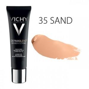 Vichy Dermablend [3D CORRECTION] Fond de Teint SPF25 - 35 Sand - 30 ml Fond de teint resurfaçant actif correcteur 16H Peau sensible Hypoallergénique Sans paraben