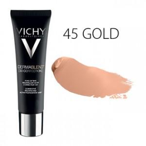 Vichy Dermablend [3D CORRECTION] Fond de Teint SPF25 - 45 Gold - 30 ml Fond de teint resurfaçant actif correcteur 16H Peau sensible Hypoallergénique Sans paraben