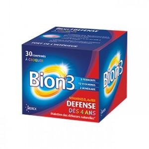 Bion 3 Défense Dès 4 Ans 30 Comprimés à Croquer Vitamines D, A et Fer Maintien des défenses naturelles