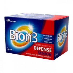 Bion 3 Séniors Boite de 60 Comprimés Ginseng et luteine Spécial Senoir Maintient des défenses naturelles